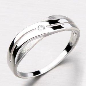 Krásný symetrický prsten z bílého zlata DZ1562-B