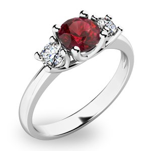 Prsten ze zlata s českým granátem a diamanty 10803B-GRN