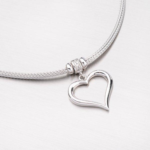 Náhrdelník ze stříbra s přívěskem srdce N1602499-1256-SLX