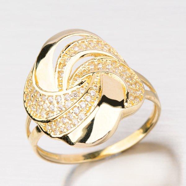 Zlatý prsten zdobený zirkony 41-NR188