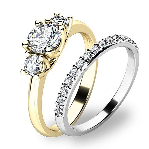 Set prstenů ze žlutého a bílého zlata 10803-SET01-ZB