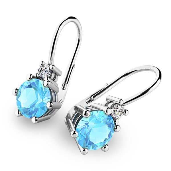Náušnice s topazy a diamanty 10857-B-TPZ