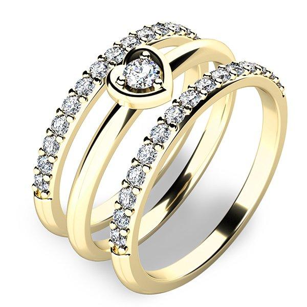 Nádherný set zásnubních prstenů ze žlutého zlata 10849-SET02-ZZ