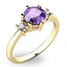 Nádherný prsten s ametystem diamanty 10856Z-AME
