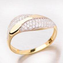 Zlatý prsten zdobený zirkony 41-NY83