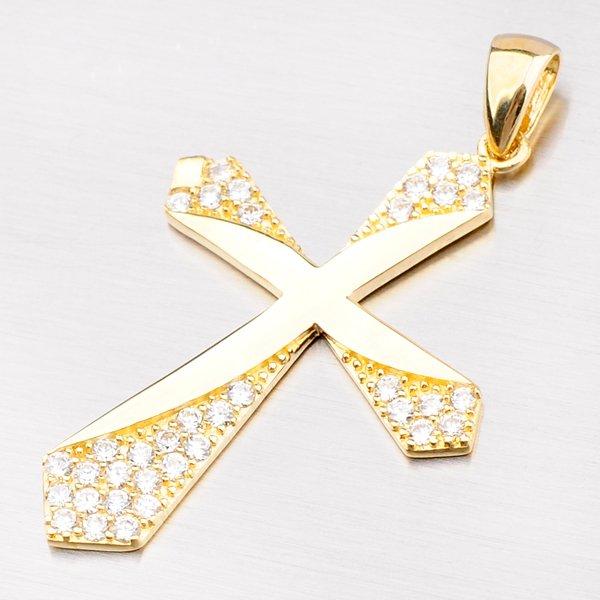Zlatý kříž se zirkony 43-21185