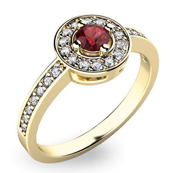 Prsten ze zlata s českým granátem a diamanty 10802Z-GRN