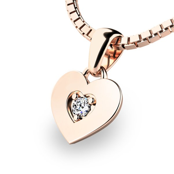 Zlaté srdce s briliantem 10874-CV-DIA