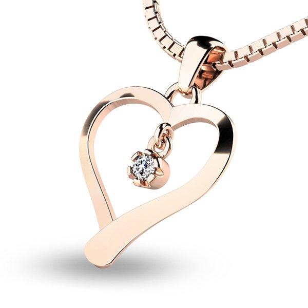 Srdce z růžového zlata s diamantem 10918-CV