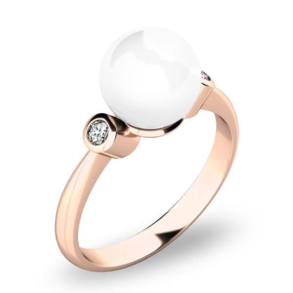 Prsten s perlou a brilianty 10867-CV-FW