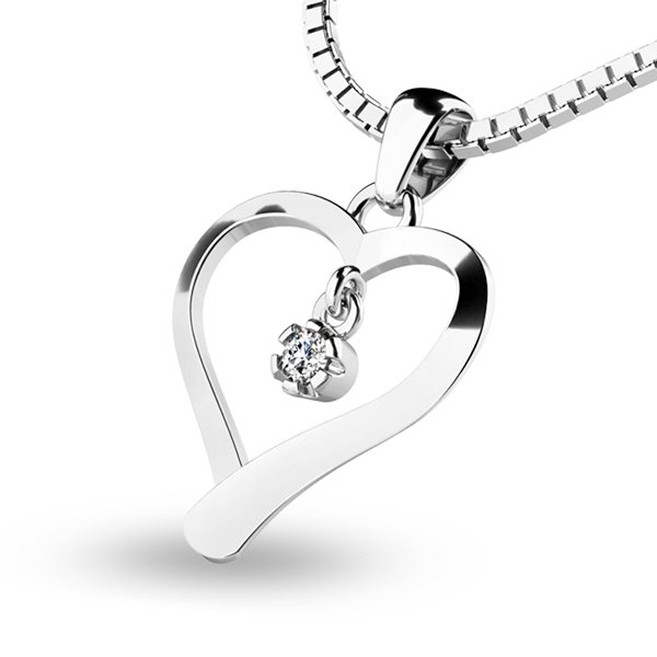Srdce z bílého zlata s diamantem 10918-B