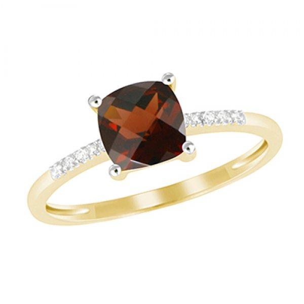 Zlatý prsten s granátem a diamanty GKW48525GR