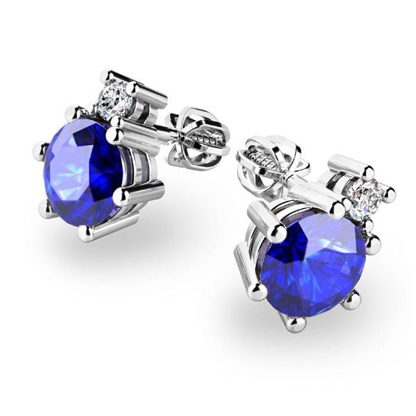 Tanzanity a diamanty ve zlatých náušnicích 10858-B-TAN