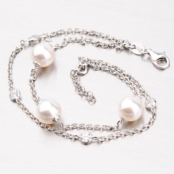 Náramek ze stříbra s perlami a zirkony B1400826-0398-SLX