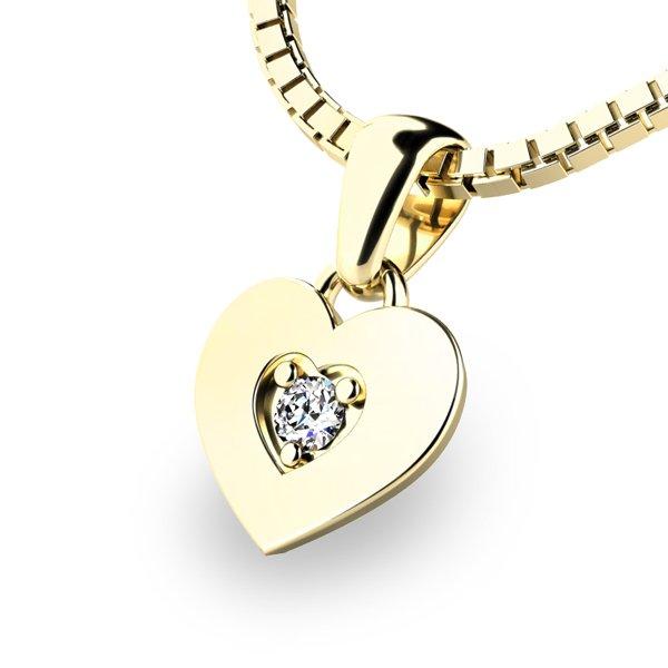 Zlaté srdce s briliantem 10874-ZL-DIA