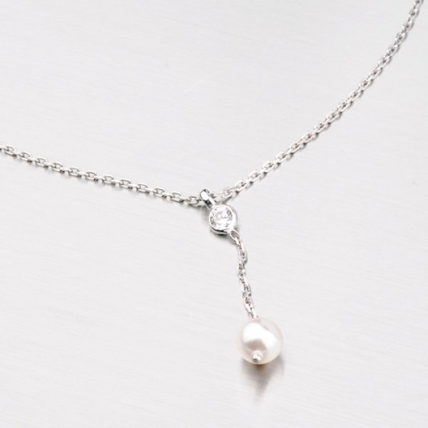 Stříbrný náhrdelník s perlou a zirkonem N1402668-0398-SLX