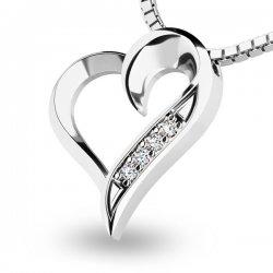 Diamantové srdce z bílého zlata 10873-B