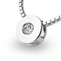 Přívěsek s diamantem z bílého zlata 10912-B