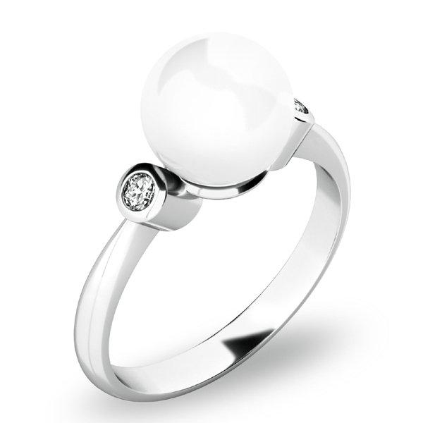 Prsten s perlou a brilianty 10867-B-FW