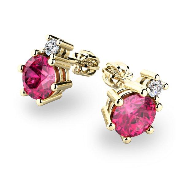 Turmalíny a diamanty ve zlatých náušnicích 10858-ZL-TUR