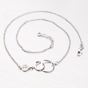 Stříbrný náhrdelník s kroužky a zirkony N1500315-0331-SLX