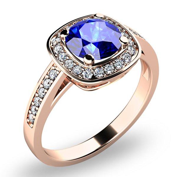 Dámský prsten s tanzanitem a brilianty 10766-CV-TAN