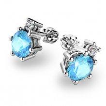 Topazy a diamanty ve zlatých náušnicích 10858-B-TPZ