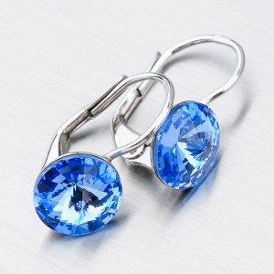 Stříbrné náušnice s modrými krystaly N311M-JK