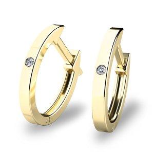 Zlaté oválky s diamanty 10861-ZL