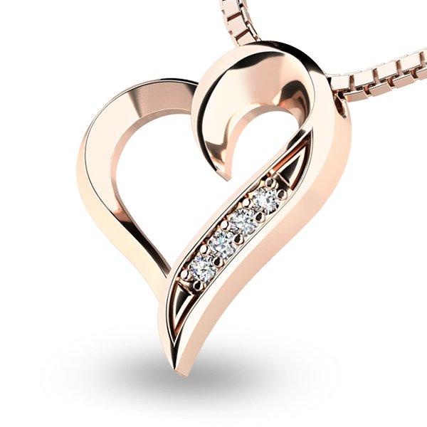 Diamantové srdce z růžového zlata 10873-CV