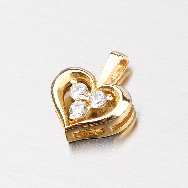 Zlaté srdce se zirkony DZ1919ZL