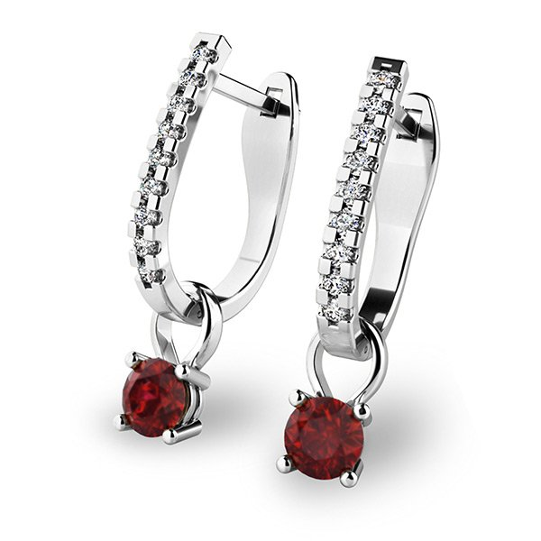 Diamantové náušnice s granáty 10862-B-GRA