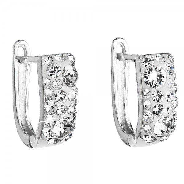 Stříbrné náušnice visací s krystaly Swarovski bílý půlkruh 31123.1 31123.1 KRYSTAL