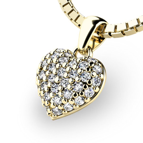 Srdce ze žlutého zlata s diamanty 10923-ZL-DIA