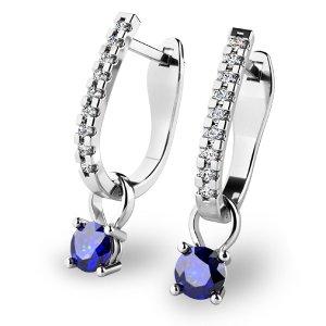 Diamantové náušnice se safíry 10862-B-SAF