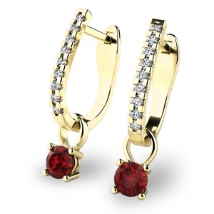 Diamantové náušnice s granáty 10862-ZL-GRA