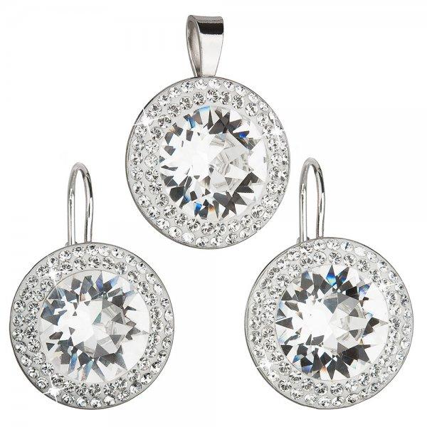 Sada šperků s krystaly Swarovski náušnice a přívěsek bílé kulaté 39108.1 39108.1 KRYSTAL