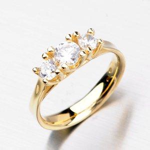 Elegantní zlatý prsten se zirkony DZ1924ZL
