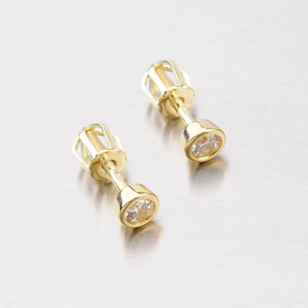 Pecky ze žlutého zlata se zirkonem DZ1989A-ZL