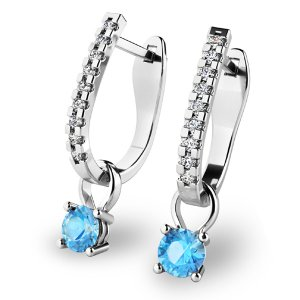 Diamantové náušnice s topazy 10862-B-TPZ