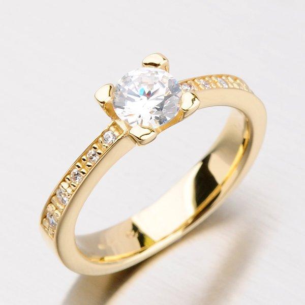 Dámský prsten ze zlata se zirkony DZ1961ZL