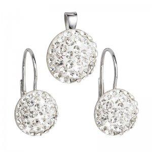 Sada šperků s krystaly náušnice a přívěsek bílé kulaté 39086.1 39086.1