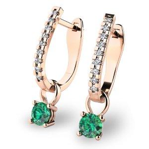 Diamantové náušnice se smaragdy 10862-CV-SMA