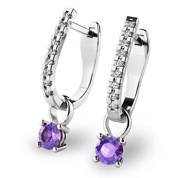 Diamantové náušnice s tanzanity 10862-B-TAN
