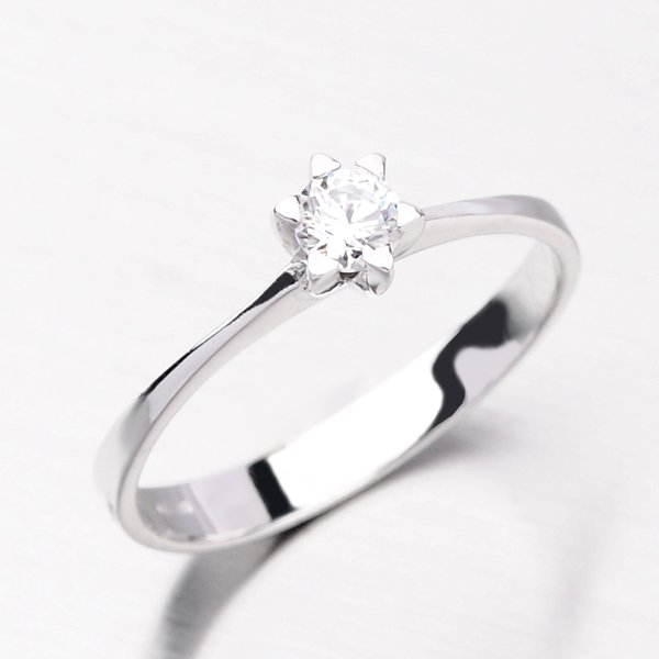 Krásný prsten z bílého zlata DZ1953B