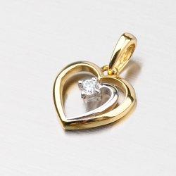 Srdíčko ze žlutého a bílého zlata DZ1602-1