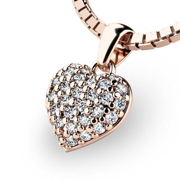 Srdce z růžového zlata s diamanty 10923-CV-DIA