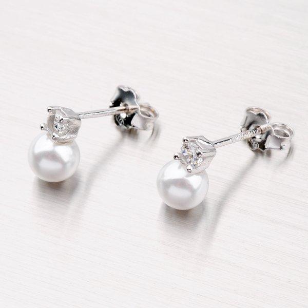 Stříbrné pecky s perlou a zirkony YNG2134