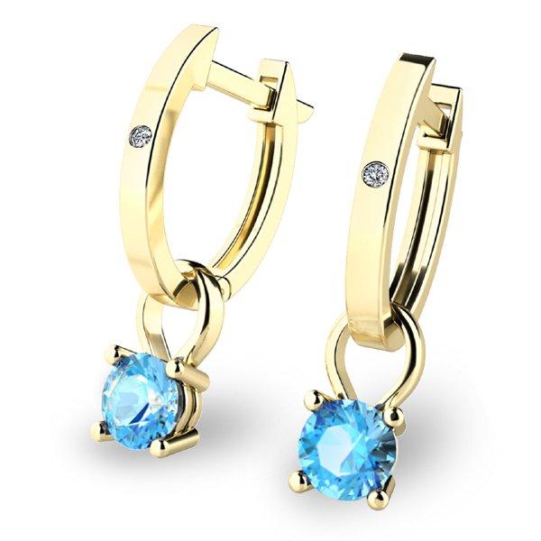 Zlaté oválky s diamanty a topazy 10861-ZL-TPZ