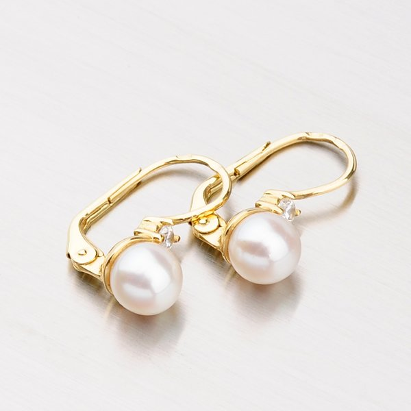 Náušnice s perlou a zirkony 453-5034